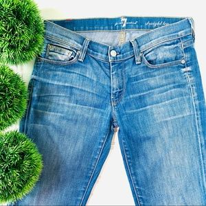 7 for all mankind washed blue jeans
